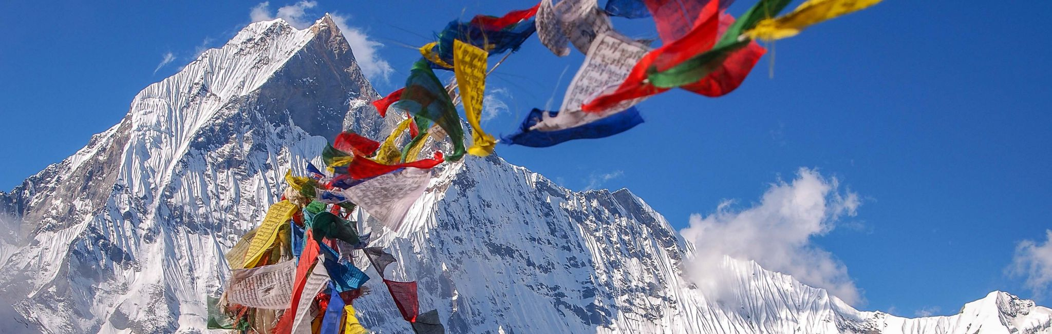 Nepal-Himilayas-Buddhist-Prayer-Flags-at-Camp-with-Peak